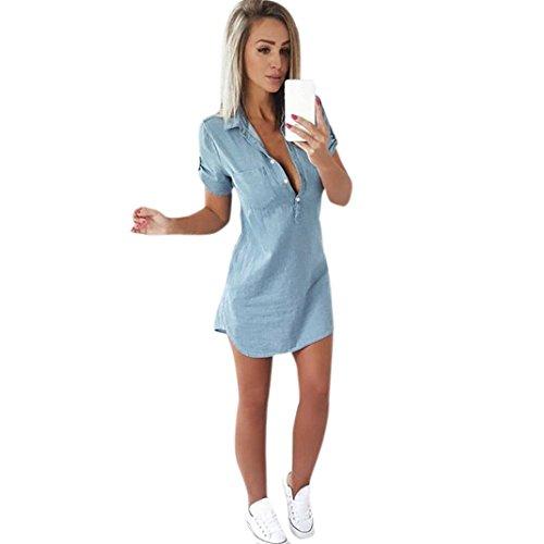 Overdose Vestido De Manga Corta para Mujer Vestido De Mezclilla SóLido Turn Down Collar Mini Vestido Casual Mini A-Line (S, Azul Claro)