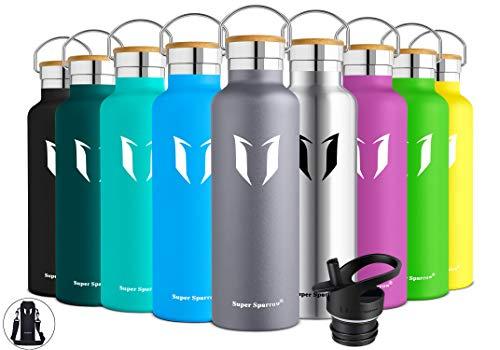 Super Sparrow Trinkflasche Edelstahl Wasserflasche - 500ml - Isolier Flasche mit Perfekte Thermosflasche für Das Laufen, Fitness, Yoga, Im Freien und Camping | Frei von BPA (Grau)