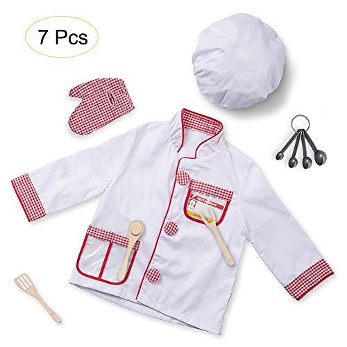 Easy-topbuy 7 Stück Kinderkochset Für 3-6 Jahre Weiße Schürzen Zum Kochen Rollenspielkostüm Küchenspielzeug Für Festspielkostüm