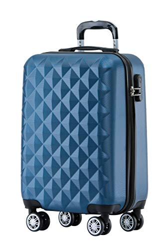 BEIBYE Zwillingsrollen 2066 Hartschale Trolley Koffer Reisekoffer Gepäck M-L-XL-Set (Blau, M)