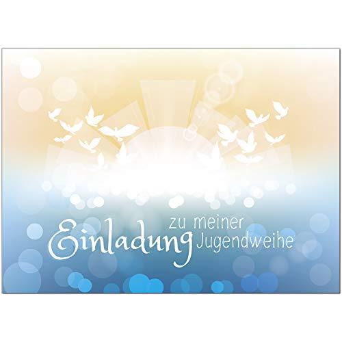 15 x Einladungskarten zur Jugendweihe mit Umschlag/Für Jungs und Mädchen blau/Jugendweihekarten/Einladungen zur Feier