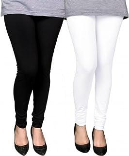 Swastik Stuffs Soft & Stretchable Cotton Lycra Churidar Free Size Leggings Combo Offer for Women (SSLBW2_Black,White_Free ...