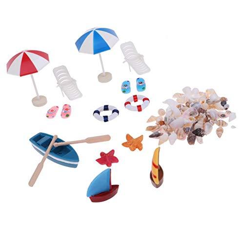 Ruby569y Puppenhauszubehör für Heimwerker, 1/12 Puppenhaus, Mini-Boot, Sonnenschirm, Muschel, Strand, Landschaft, Fotografie Requisiten Multi