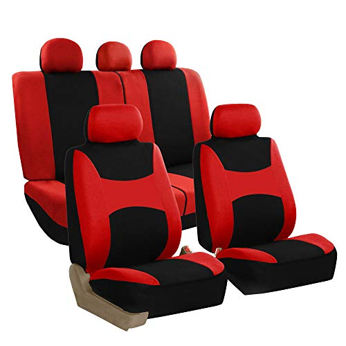 FH GROUP FB030RED115-SEAT Bucket Seat Cover and Bench Cover (Full Set Airbag Compatible with Split Bench…