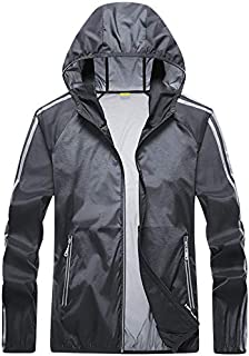 Men's Softshell Jacket, Couple Sunscreen Coat Summer Breathable Windbreaker for Running Cycling Fishing and Travelling,Dark gray,4XL