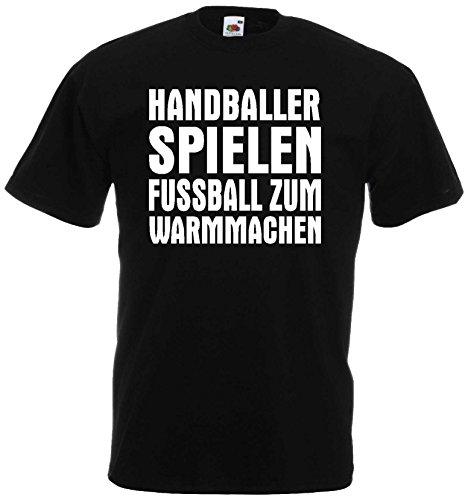 Handball Herren T-Shirt Handballer Spielen Fussball zum Warmmachenschwarz-XL