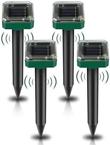 4 Stück Solar Maulwurfabwehr, Ultrasonic Solar Maulwurfschreck, Maulwurfbekämpfung, Wühlmausschreck, Mole Repellent, Schädlingsbekämpfung mit IP65 für den Rasen Garten