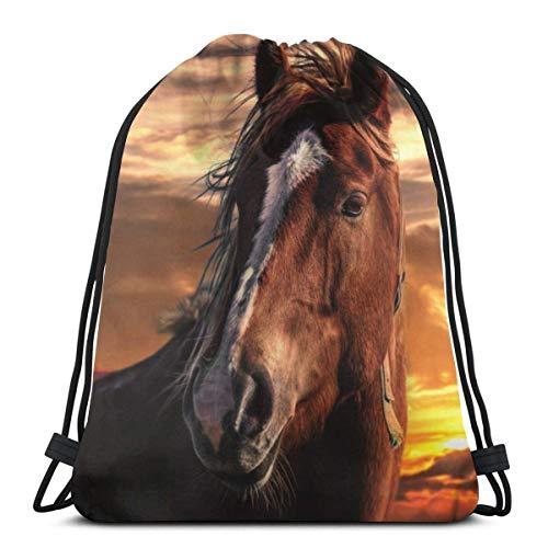 Sunset Brown Horse with White Stripe On Face Unisex Drawstring Bag Gym Dance Bapa