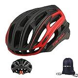 Cairbull - Casco de ciclismo para hombre y mujer (54-61 cm) con 29 rejillas de ventilación, ligero casco de bicicleta con lámpara LED, Unisex adulto, negro/rojo