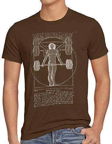 style3 Vitruvianischer Mensch mit Langhantel Herren T-Shirt kreuzheben fitnesstudio, Größe:XL, Farbe:Braun