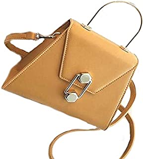 SODIAL Metal Handbag Summer New Pu Leather Lock Shoulder Bag Solid Color Fashion Messenger Bag White