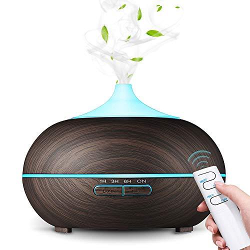 Aroma diffuser, SaponinTree 550 ml ultraljud luftfuktare träkorn olja dofter luftfuktare elektrisk doftlampa med 7 färger LED-lampor för baby, rum, kontor, yoga, salong, spa, sovrum