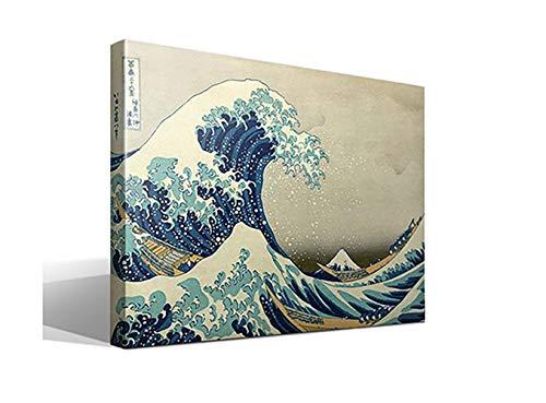 adro Canvas La Gran Ola de Kanagawa de Katsushika Hokusai - Ancho: 95cm - Alto: 70cm - Bastidor: 3cm - Imagen alta resolución - Impresión sobre Lienzo de Algodón 100% - Fabricado en España