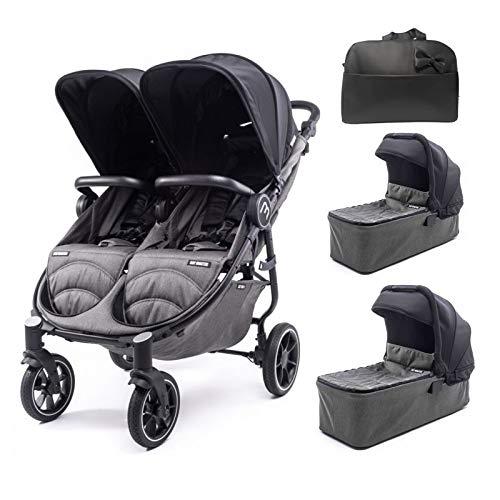 Silla Gemelar Easy Twin 4 Chasis Negro + 2 Capazos Baby Monsters Plástico de Lluvia y Barras Frontales incluidas Color Negro