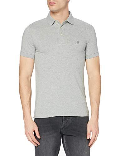 French Connection - T-shirt - Uni - Col ras du cou - Manches longues Homme, Gris (grey Melange/marine Blue), Medium