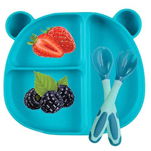 BeiLan Plato de Silicona con Ventosa para Bebe - Plato Infantil Antideslizante con Succion con Cuchara y tenedor, Verde