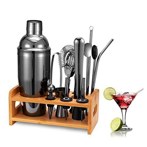 HB life 15 Pezzi Cocktail Shaker Set in 304 Acciaio Inossidabile Completo Professionale con Supporto 750ml Shaker (Nero)