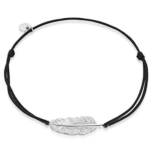 Glanzstücke München Damen-Armband Feder Sterling Silber 14-25 cm - Armbändchen mit Silberanhänger Feder Armändchen Stoff Armband mit Zugverschluss