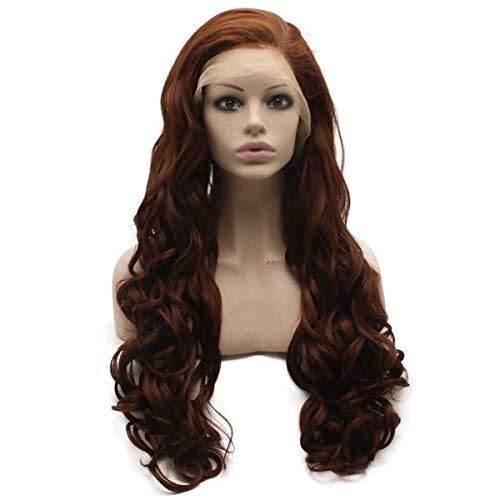 Mxangel Long Dark Auburn Deep Parting 13X6 Lace Front Synthetic Wig Heat Friendly Fiber Hair Cosplay Party Wig