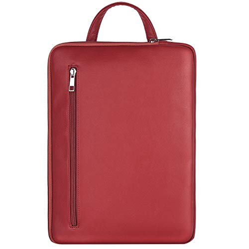 MoKo 13-13.5 Inch Laptop Sleeve Bag with Handle Fits MacBook Pro/MacBook Air 13 Inch, Surface Book/Surface Laptop Surface Pro X 13', PU Leather Ultrabook Briefcase Carrying Case Bag - Wine Red