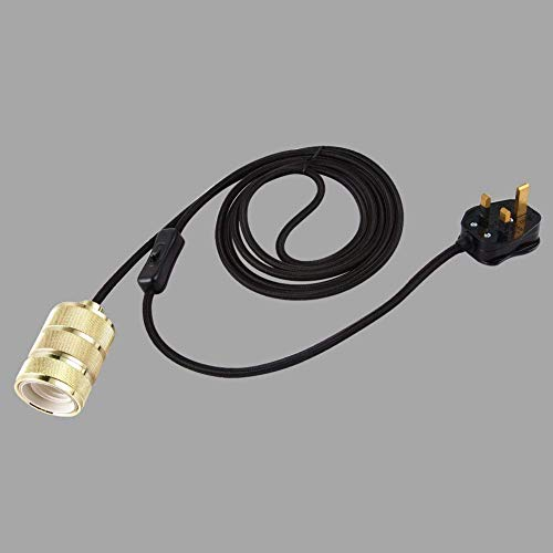 LYHY Juego de Accesorios de iluminación Colgante con Enchufe de Cable de Tela Negro de 4 m, Kit de iluminación Colgante con portalámparas Dorado E27, Interruptor de Encendido/Apagado