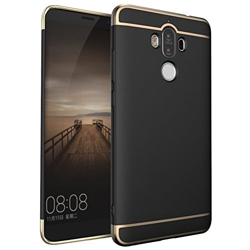 Dqueen-eur Huawei Mate 9 Hülle Case, 3-Teilige Extra Dünn Hart Slim Thin Hard Case Cover Stylich Hochwertig Schutzhülle Schale Handy Hülle für Huawei Mate 9 (Huawei Mate 9, Schwarz)