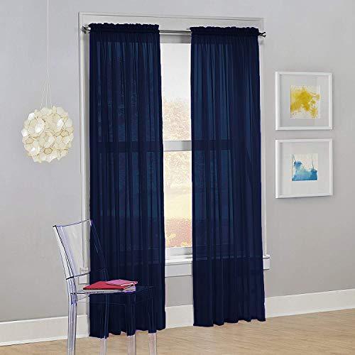 "Decotex Set of 2 Sheer Voile Transparent Window Panel Curtain Drapes (54"" W X 84"" L, Navy Blue)"