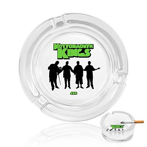 灰皿 透明 ガラス コットンマウス キングス 卓上灰皿 クール クリア 高級 携帯灰皿 スタイリッシュ カードスモークトラフ付き 滑り止めパッド付き 洗いやすい 贈り物 直径 8.5cm
