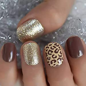 EDA LUXURY BEAUTY NATURAL NUDE BROWN GOLD GLAMOROUS CUSTOM DESIGN Full Cover Press On Gel Glitter Artificial Tips Shiny… 7