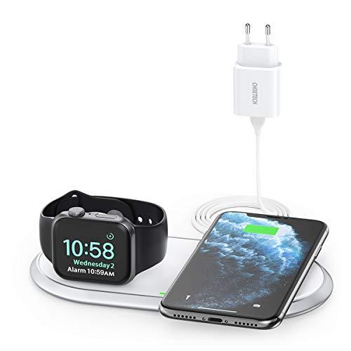 MFi Dual Wireless Charger,CHOETECH 2 in 1 Wireless Charging Pad mit iWatch Stand für iWatch,AirPods2/Pro,7.5W für iPhoneSE 2020/11Pro Max/XS/X/8,10W für Galaxy S20/Note 10/S10/S9,5W für Alle Qi Phone