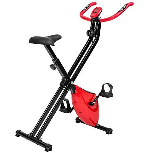 Bicicleta estática plegable Bicicleta ciclismo estacionaria Entrenador piernas Con pantalla LCD y 8 configuraciones magnetorresistencia entrenamiento resistencia ejercicio muscular-Rojo 77.5*42*115cm