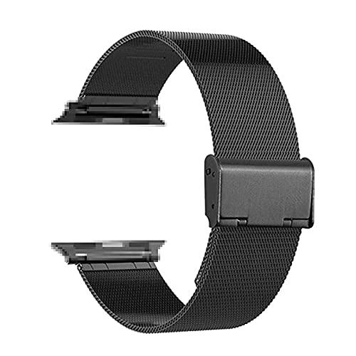 Correa Reloj Compatible con Apple Watch Band 44mm 40 mm Ajuste Pulsera de Acero Inoxidable Compatible con la Correa de Apple Watch 38mm 42mm Reemplazo (Band Color : Black)