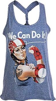 Rosie The Skater | Roller Derby Funny Riveter Racerback Girl Tank Top for Women- Racerback,M