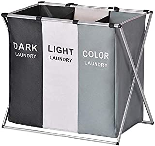Xcellent Global Laundry Basket 3 Sections 27''L×24''H Large Collapsible Dirty Clothes Organizers Bag Sorter with Aluminum ...