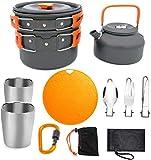 1yess Ultralight Camping Cookware Juego de 12 piezas, al aire libre, utensilios de cocina, ollas portátiles, excursiones de trekking, pícnic, ollas supervivencia, aventura de pesca, 2-3 personas
