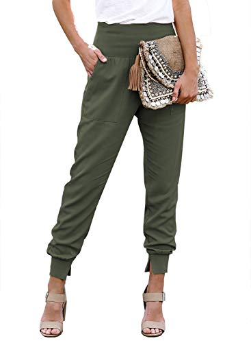 Elastic High Waist Long Pants Ladies Novelty Solid Loose Elegant Sweatpants for Work with Pockets Green M