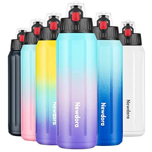 Newdora 600 ml-Bottiglia Acqua in Acciaio Inox (316), Borraccia Termica Isolamento Sottovuoto a Doppia Parete,Senza BPA,Borraccia Sportiva per Scuola,Palestra,Sport e Lavoro