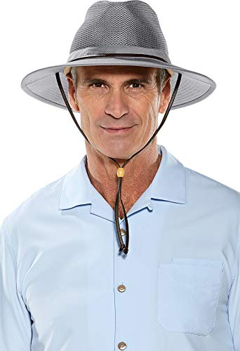 Coolibar UPF 50+ Men's Kaden Crushable Ventilated Hat - Sun Protective (Small/Medium- Smoke Grey)
