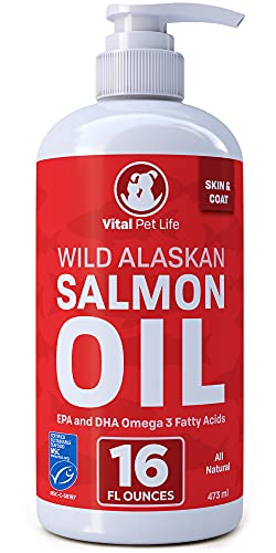 Salmon Oil for Dogs & Cats  Fish Oil Omega 3 EPA DHA Liquid Food Supplement for Pets  Wild Alaskan 100% All Natural  Supports Healthy Skin Coat & Joints  Natural Allergy & Inflammation Defense  16 oz