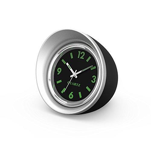 FORNORM Auto Quartz horloge, kwarts uurwerk auto klok analoog met zwarte wijzerplaat zilveren behuizing batterij inbouwklok voor auto, 4,5 cm/1,8