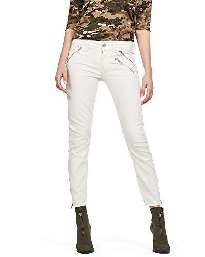 G-Star Raw Lynn Biker Mid Skinny Ankle - Vaqueros para mujer, color Blanco, talla 26W / 30L