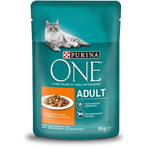 PURINA ONE Adult Katzenfutter nass, zarte Stückchen in Sauce mit Huhn, 24er Pack (24 x 85g)