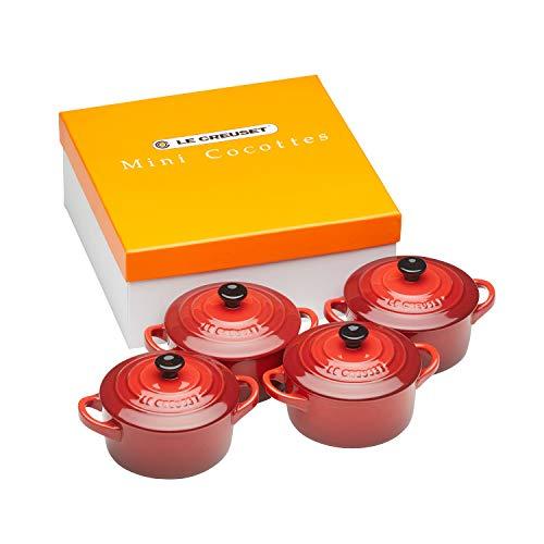Le Creuset Set de mini cocottes, 4 unidades, Redondas, 200 ml cada una, 10 x 5 cm, Cerámica de gres, Cereza