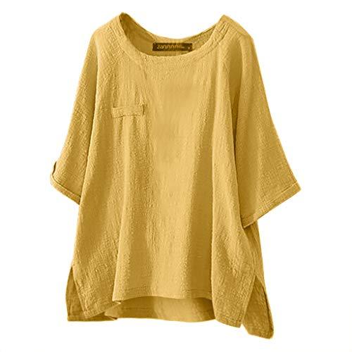 Damen Oberteile Cramberdy Sommer Elegant Damen Leinen T Shirt Oversized Einfarbige Oberteile Shirt Frauen Casual Bluse Lose Kurzarmshirt Hemd Tuniken Tops Damen Bauchfrei Crop Tops Damen Hoodie