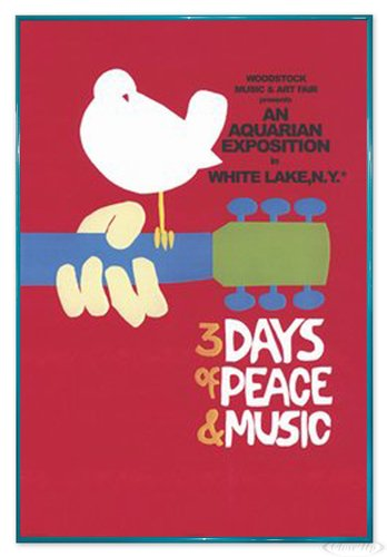 Close Up Woodstock Poster 3 Days of Peace and Music (94x63,5 cm) gerahmt in: Rahmen türkis