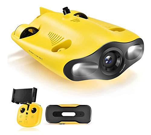 ADZHY Mini Drone Subacqueo, Videocamera Subacquea 4K UHD, Telecomando e Telecomando App, Streaming Live, Blocco Inclinazione Regolabile, Fish Finder, ROV,100M