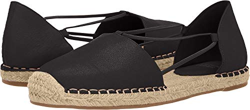 Eileen Fisher Womens Lee Washed Leather Espadrille Black Washed Leather Flat - 10