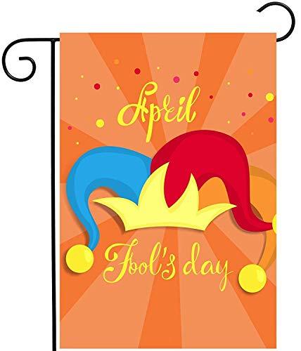 KDU Fashion Flag Banner, grappige narren dag spel clown hoed oranje outdoor yard vlag, grappige familievlaggen voor huis tuinfeest, 30 x 45 cm