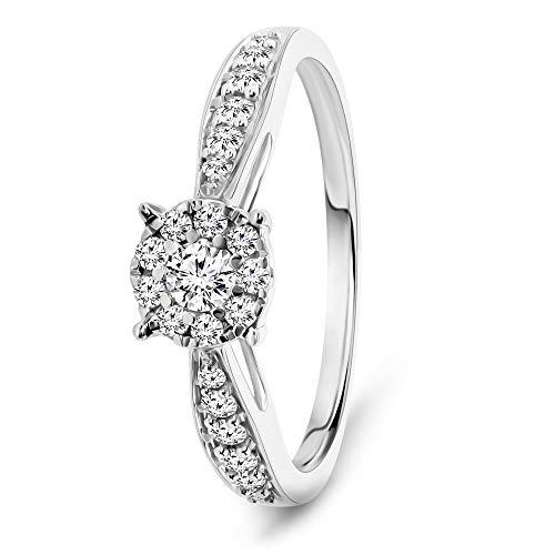 Miore Ring Damen 0.30 Ct Diamant Verlobungsring aus Weißgold 9 Karat / 375 Gold, Schmuck mit Diamanten Brillanten