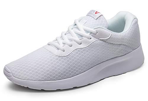 AONVOGE Laufschuhe Herren Schuhe Outdoor Walkingschuhe Straßenlaufschuhe Tennis Turnschuhe Sneaker Joggingschuhe Fitness Leichtgewichts Sportschuhe, Weiß 43 EU